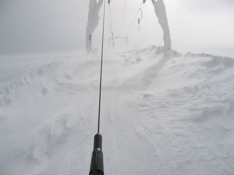 Skiing in the blizzard